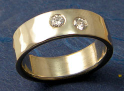 5mm Wide Flat Band 14kt white gold and 2 - .10ct diamond